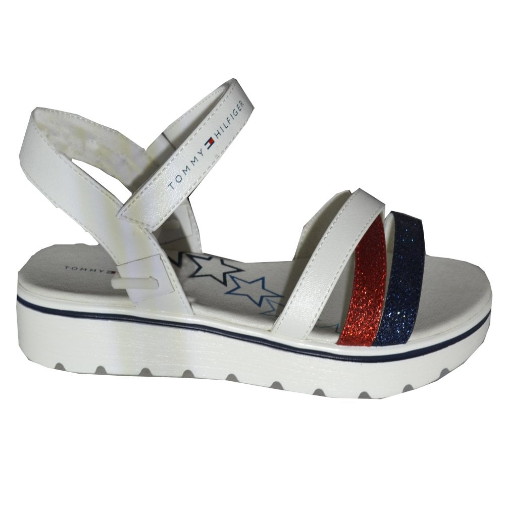 e327f9a061f4 Tommy Hilfiger Girls White MultiStrap Sandals