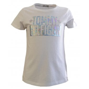5d3ca09a3 Tommy Hilfiger Girls White Short Sleeved T-Shirt