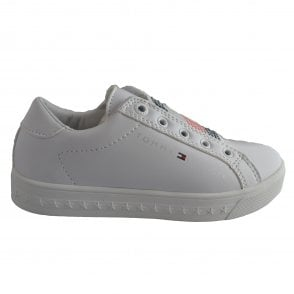7fba8c8b1e50 Tommy Hilfiger Girls White Slip-On Trainers