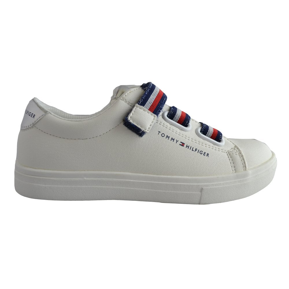 1cec59b6c78f Tommy Hilfiger Girls White Velcro Trainers