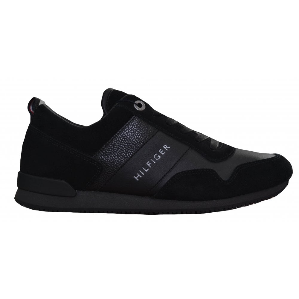 be4979d20 Tommy Hilfiger Men  039 s Black Iconic Leather And Suede Trainers