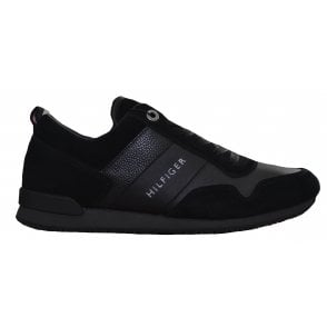 a350e47d3 Tommy Hilfiger Men s Black Iconic Leather And Suede Trainers