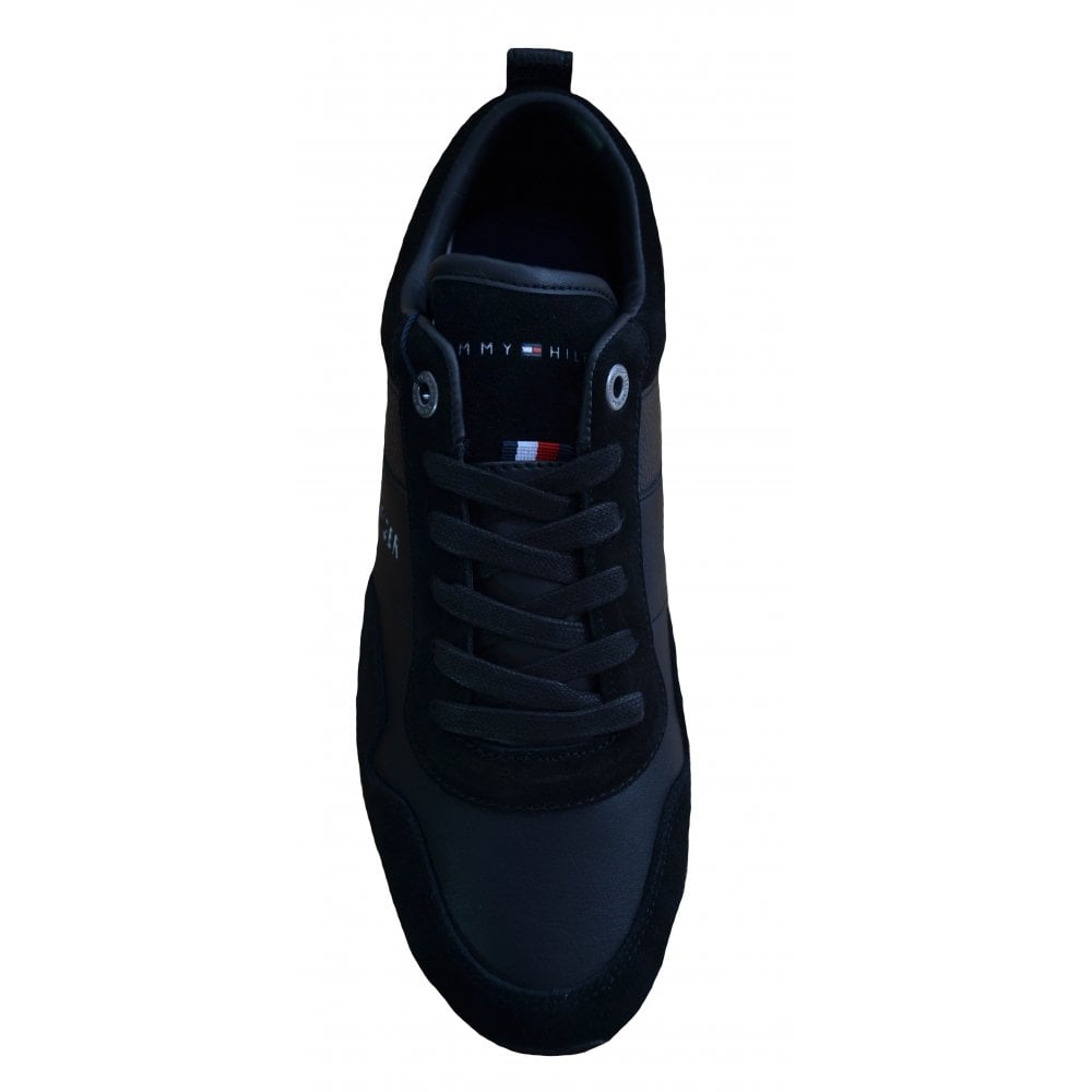 210181909 Tommy Hilfiger Men  039 s Black Iconic Leather And Suede Trainers