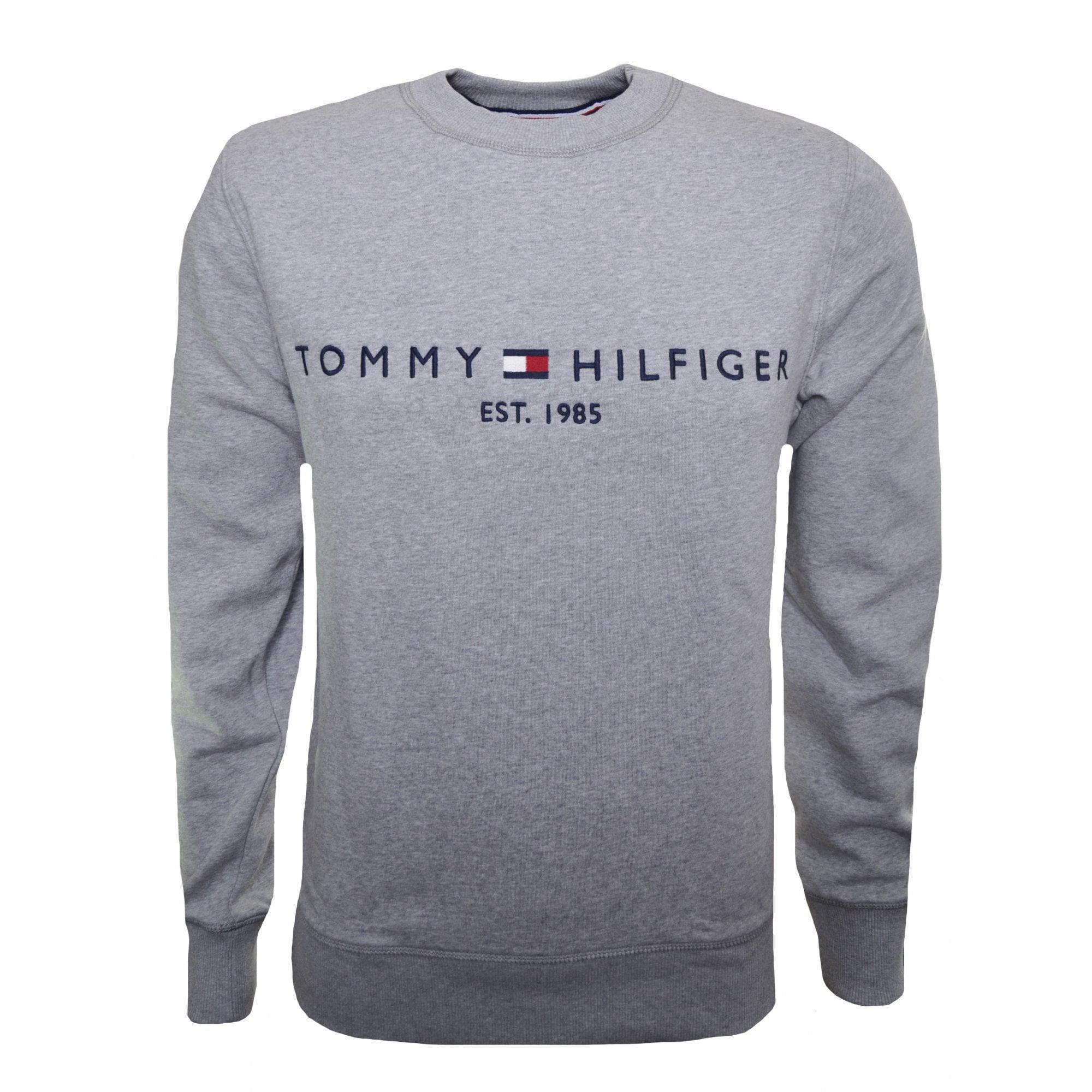 Men/'s Tommy Hilfiger Dark Grey Round Neck Sweater Pullover