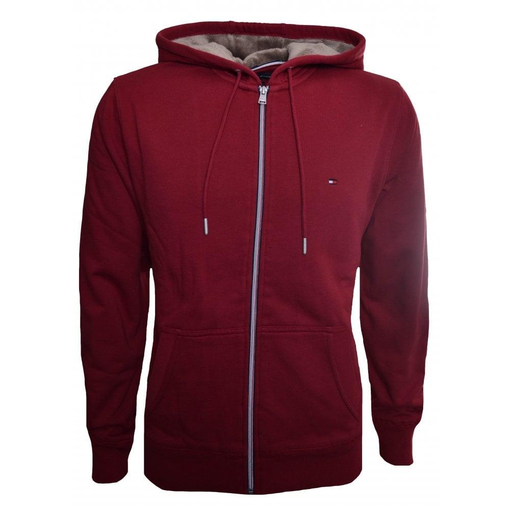 2f39469c88c985 Tommy Hilfiger Men  039 s Red Faux Fur Lined Hooded Sweatshirt