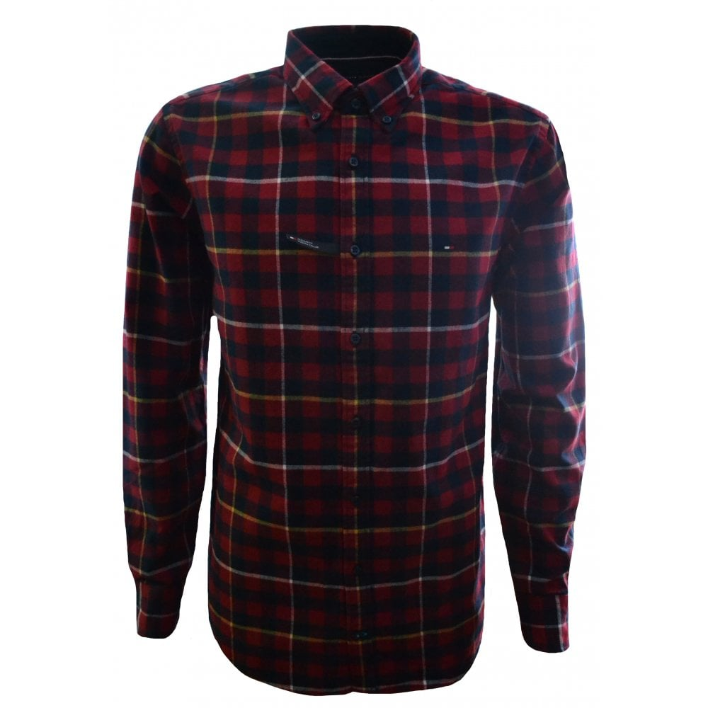 c0d59fe2 Tommy Hilfiger Men's Regular Fit Red Check Shirt
