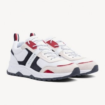 Tommy Hilfiger Men's White Contrast Textured Fashion Trainer